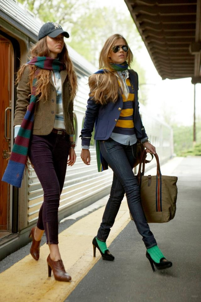 green women socks, high heels, purple jeans, street style