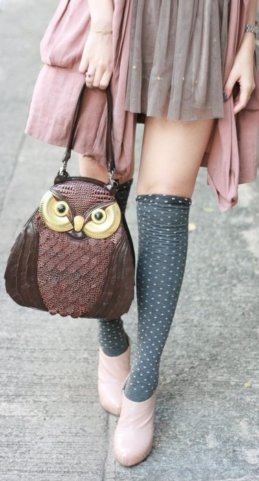 grey dotted women socks, knee high women socks, owl, purse