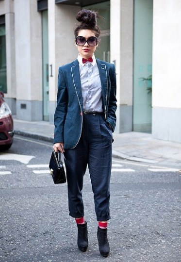 street style, women socks, red socks, bow tie, black purse
